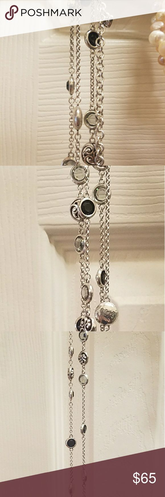 Long, layerable Brighton necklace Europa clear, silver and black chain necklace. Brighton Jewelry Necklaces