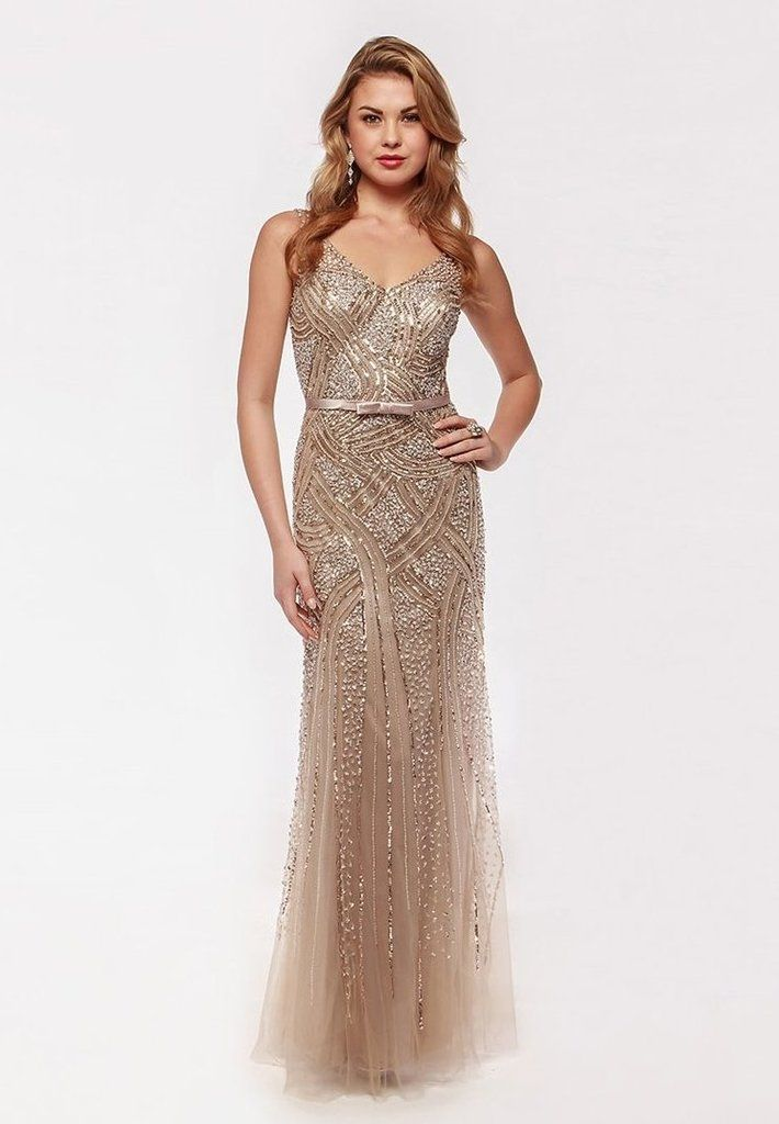 39a746e45 Long Prom Gown with jeweled bodice and V-neckline. View our Prom Dress  Collection today! Find the Perfect Dress. Wide Variety of Styles. All Sizes.