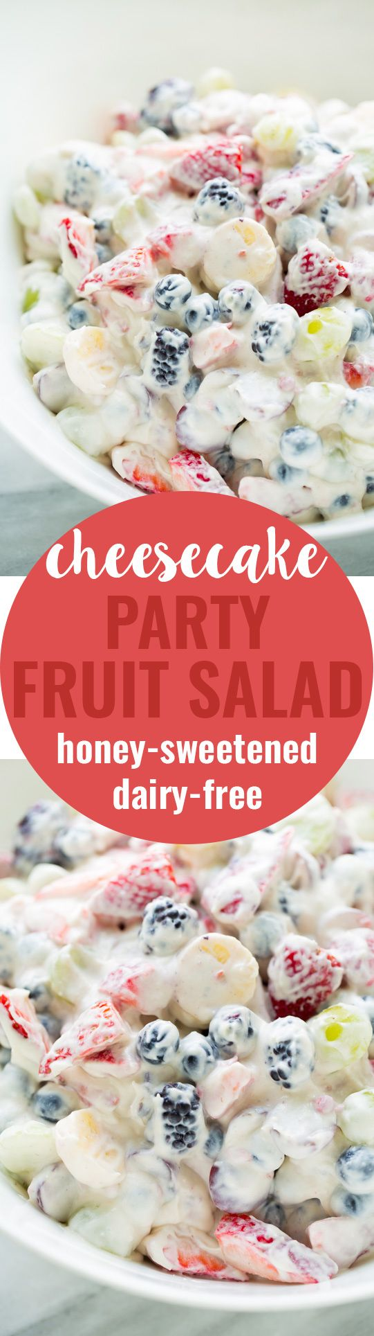 Healthy Cheesecake Fruit Salad! Perfect for parties and potlucks. Dairy-free and honey-sweetened!