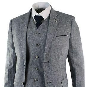 Mens-Herringbone-Tweed-Classic-3-Piece-Vintage-Tailored-Fit-Blue-Grey-Suit