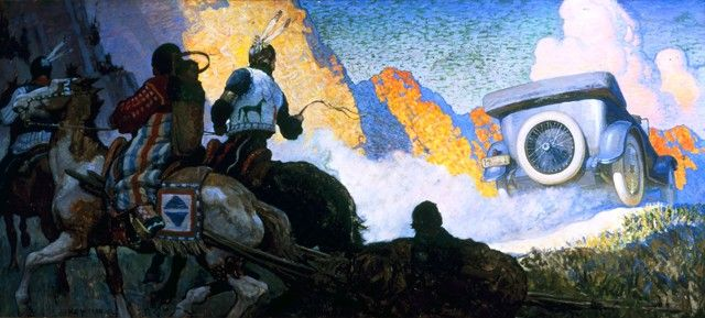 """'Fisk Tires Civilize Savage Trails'  (1919) - N.C. Wyeth - Oil on canvas applied to hardboard, 32 x 71 1/2 in. (81.2 x 181.6 cm) -Joslyn Art Museum, Omaha, NE - Advertising image for the Fisk Rubber Co, pub. with the following text below image: PAINTED BY N. C. WYETH ENGRAVED BY BECK FOR THE FISK RUBBER CO. © THE FISK RUBBER CO. 1919""""; appeared in Saturday Evening Post, May 24, 1919 (vol.191, no. 47, ps. 84-85; also, Country Life Magazine, vol. 36 (May 1919)"""