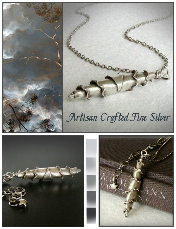 Artisan Fine silver pendant ... formed by hand into an amazing, ruffled objet d'art!