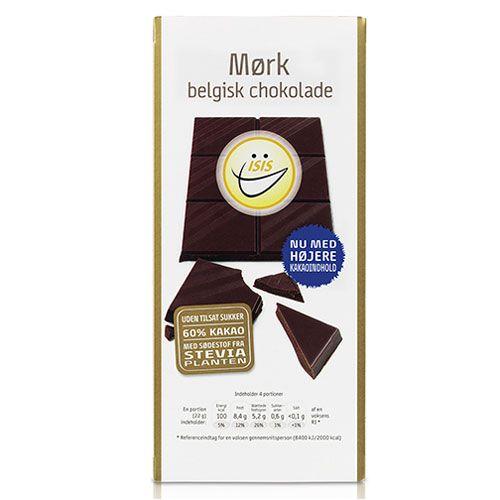 Køb ISIS belgisk mørk chokolade - 85 gr. hos med24.dk - Din danske sundhedsbutik på nettet.