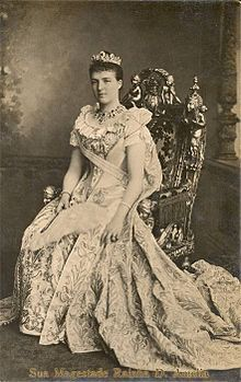 Amelie of Orleans (1865 - 1951). Queen of Portugal from 1889 until her husband was killed in 1908. She was married to Carlos I and had two sons.