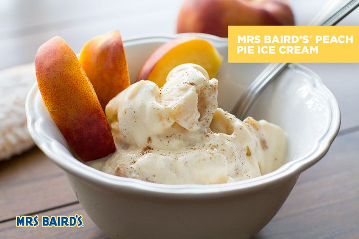 This 4-Ingredient Recipe for Peach Pie Ice Cream is easy to make and enjoy.  INGREDIENTS: 1 Mrs Baird's® Peach Pie 1/2 pint vanilla ice cream 1 fresh peach, sliced 1 tsp cinnamon  (Yields 2 servings)  INSTRUCTIONS Crumble Mrs Baird's® Peach Pie into dime-sized pieces. Using two ice cream scoops, fold crumbled pie into ice cream. Scoop pie/ice cream mixture into two bowls. Top each with peach slices and sprinkle cinnamon on top. Enjoy!