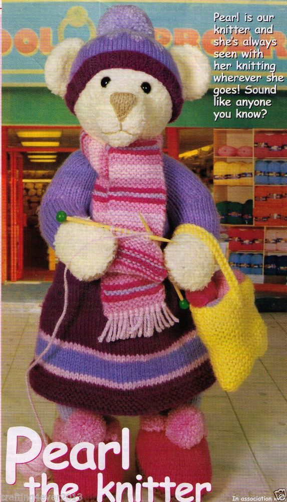 PEARL THE KNITTING TEDDY BEAR & HER CUTE BAG SOFTTOY 41CMS 8PLY KNITTING PATTERN