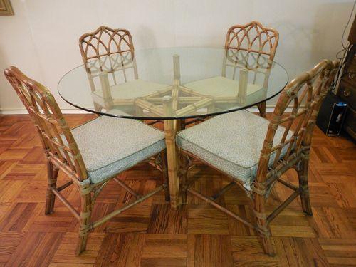 Mcguire Vintage Bamboo Rattan Dining Set Chippendale