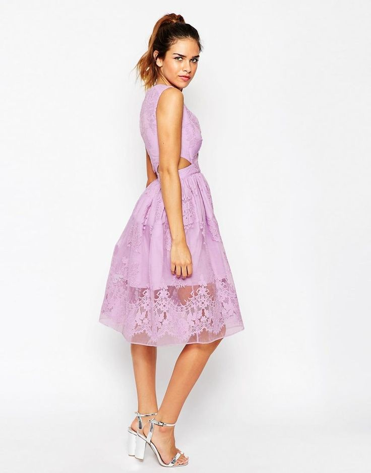 ASOS Petite | ASOS PETITE Prom Dress With Floral Embroidery And Cutout Detail at ASOS