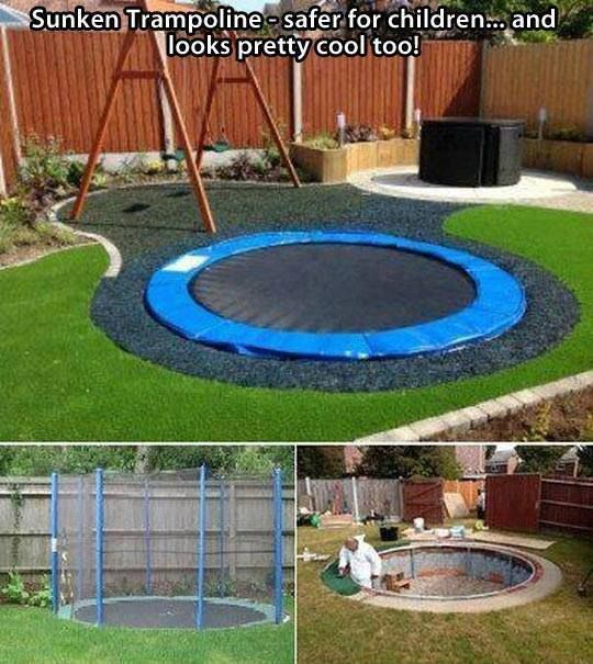 sunken trampoline...I think this is the only way I would allow a trampoline in my yard, looks much nicer/is safer than the traditional way.