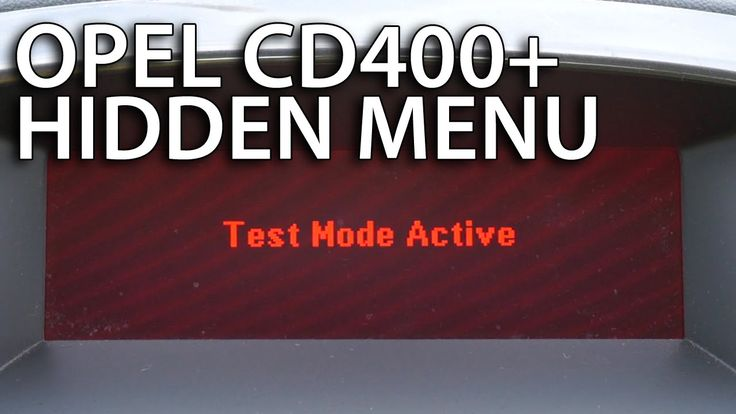 How to enter Test Mode #Opel CD400+ (hidden menu #Vauxhall #Astra #Insignia #Meriva #Zafira)