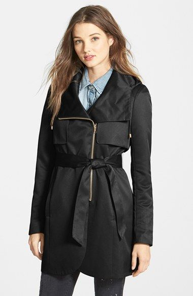 French Connection Tulip Hem Hooded Raincoat (Online Only) available at #Nordstrom