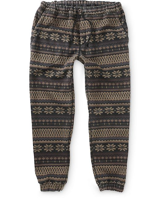 Freshen up your jogger steez with an all over khaki and brown tribal print design with a soft fleece lining for great warmth and comfort.