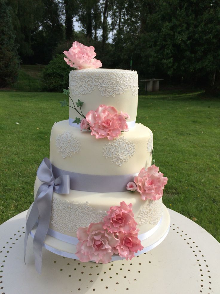 Pretty pink rose and lace wedding cake by swirlsandpearls of norfolk uk