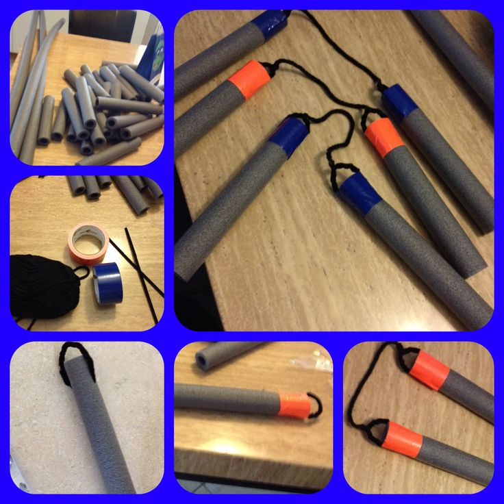 Foam nunchucks for a TMNT party. I used pipe installation, pipe cleaner(arts &craft store), yarn, and duck tape.