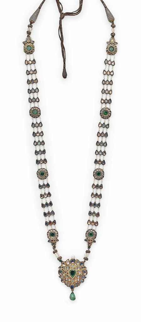 A FINE PEARL, HARDSTONE AND enamelled gold necklace.. Mughal India..19th century.