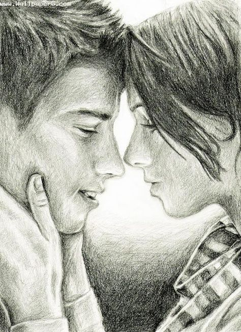 Download Sketch Of Love Couple Romantic Wallpapers For Your