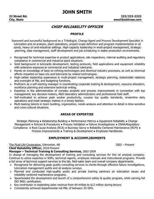 click here to download this chief reliability officer resume template