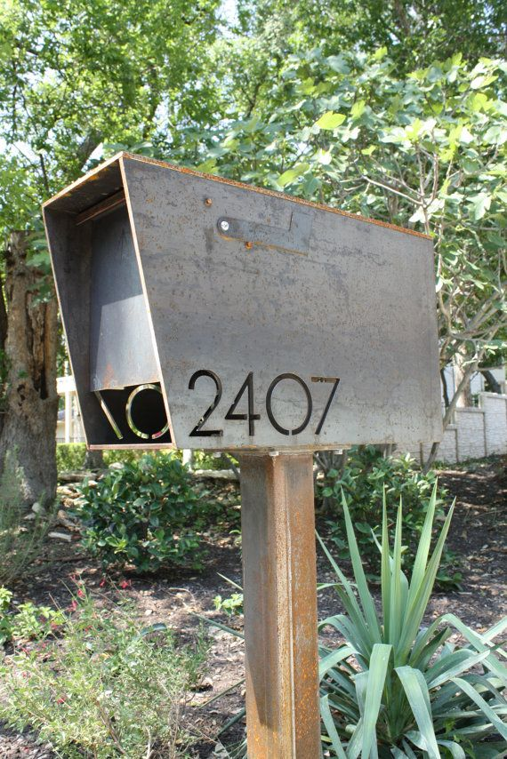 Items similar to Modern Mailbox Large, Teak and Stainless Steel Mailbox, Wall Mounted mailbox on Etsy