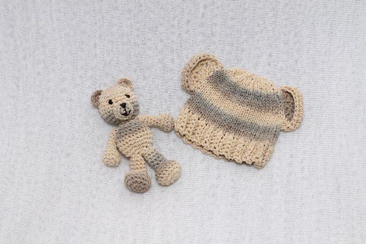 Rainbowbabyprops — Newborn bear hat and teddy bear set - ON SALE