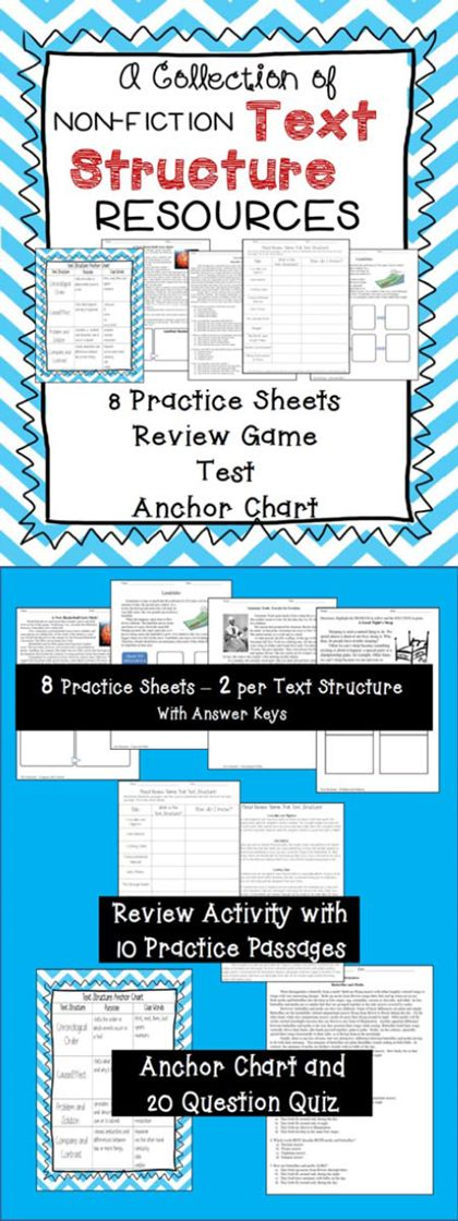Great pack of Text Structure Resources: 8 student practice sheets, Review Game, Test, Anchor Chart....LOTS of examples!  Cause & Effect, Problem & Solution, Compare & Contrast, Chronological Order