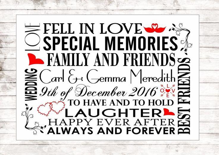 Wedding Anniversary Personalised First Dance Lyrics Gift Keepsake Valentines Art