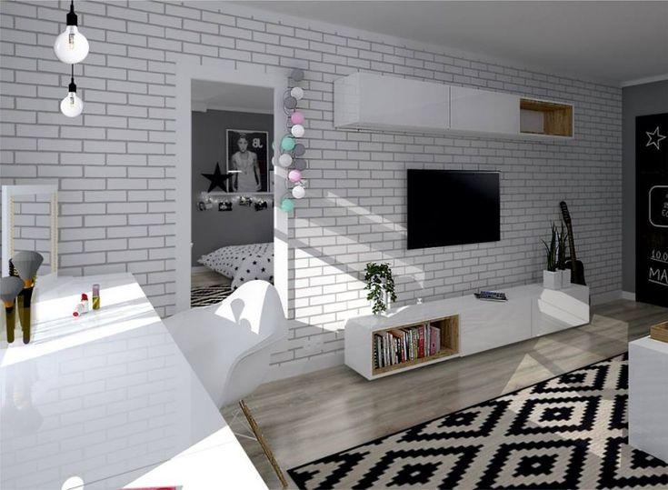 Białe cegiełki na ścianie w pokoju nastolatki - Lovingit.pl