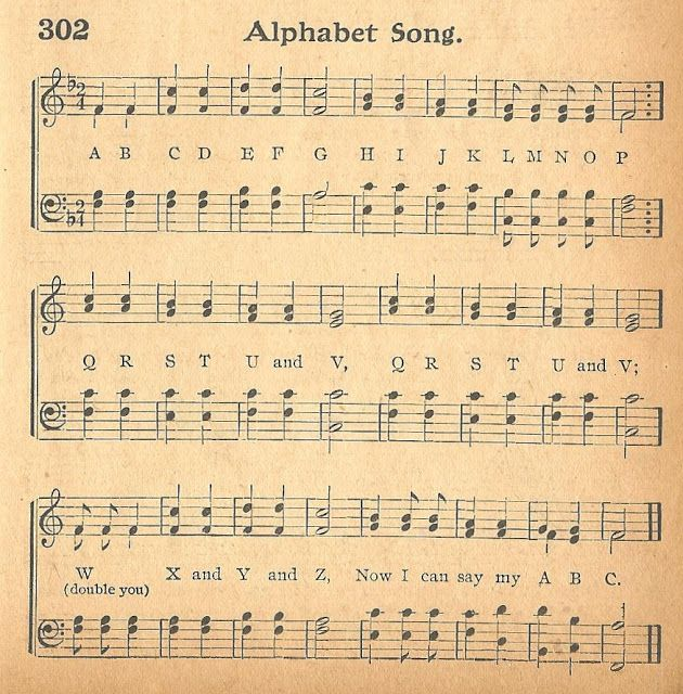 Back to School Alphabet Antique Music Page Printable via Knick of Time at KnickofTime.net