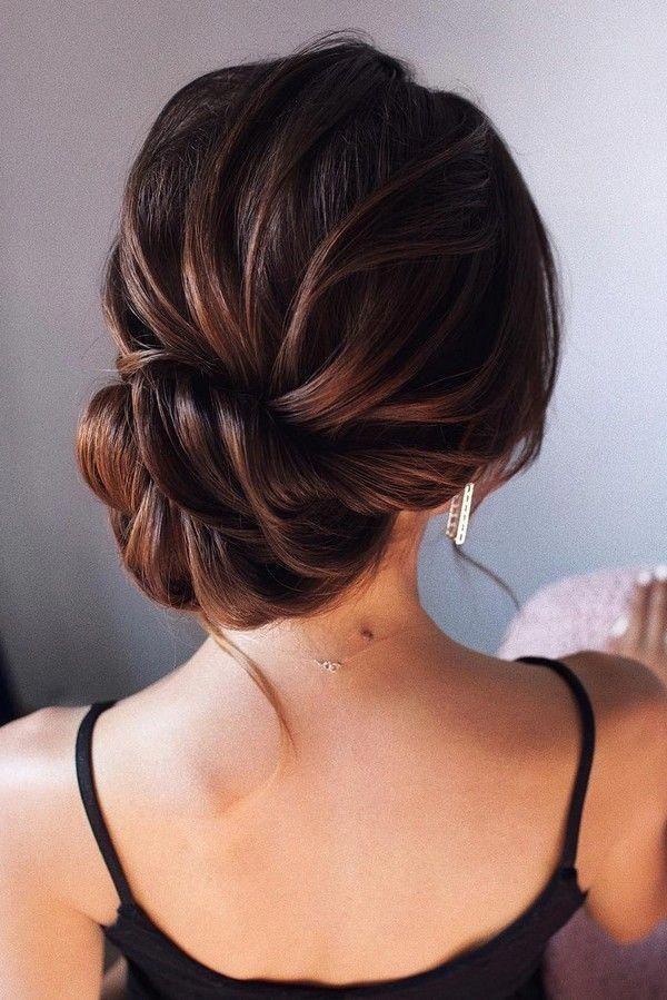 Elegant Low Bun Updo Wedding Hairstyle Weddings Weddingupdos Weddinghairstyles Hairstyles Weddi Up Dos For Medium Hair Long Hair Styles Medium Hair Styles