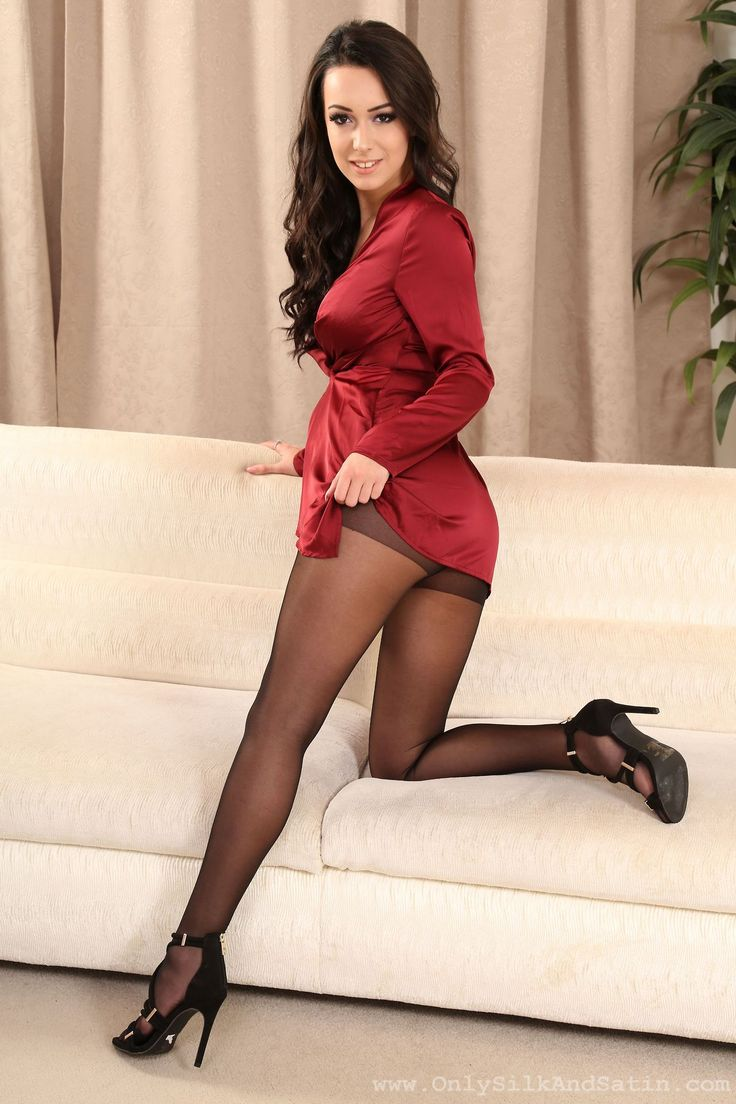 Sexy Dress With Sheer Black Pantyhose And Heels  Women I -9561