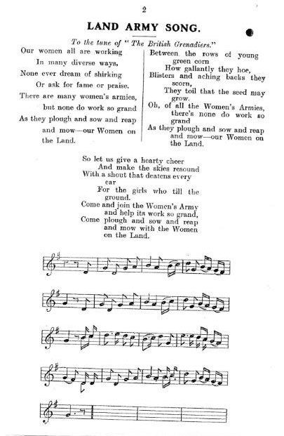 WW1 WLA Song 2 (to The British Grenadiers tune) Source: Women's Land Army LAAS Handbook, c.1917' Courtesy: Stuart Antrobus
