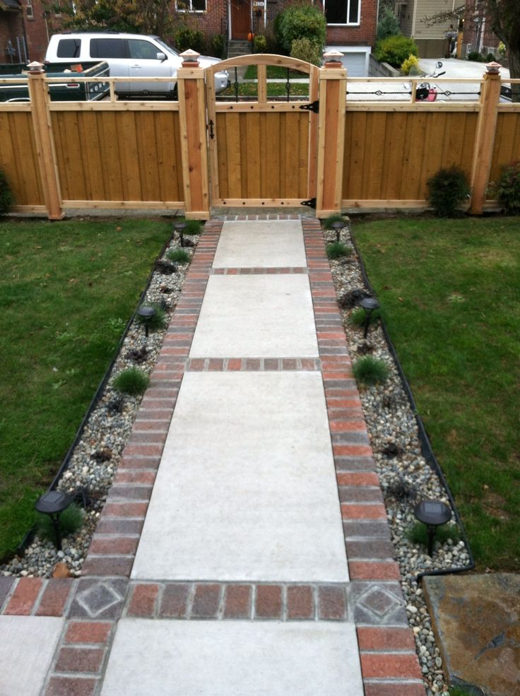 Brick and concrete walkway