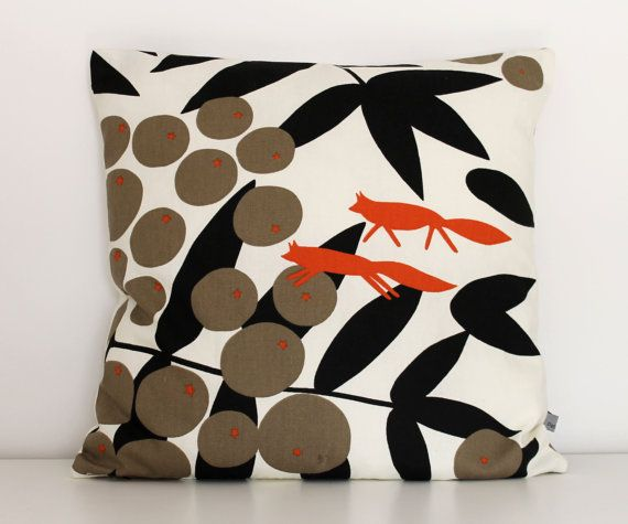 This is a handmade cushion cover made from a beautiful Swedish design fabric from Almedahls called Surt sa räven (Sour said the fox - based on the Aesop tale The fox and the grapes ) in an off white background with a vivid print in orange, black and taupe 100% cotton fabric, so quite durable but still soft. It will fit a 45 x 45 cm inner cushion or a 50 x 50 cm inner cushion for a plumper look. Very stylish and will brighten up any room! 100% cotton. Zipped closure (white zip). Size…