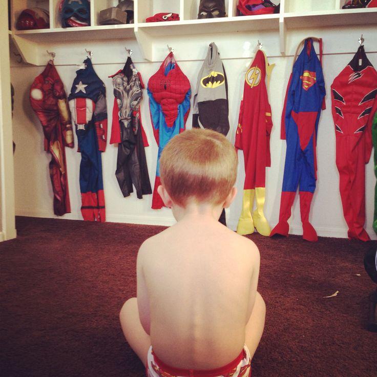 Superhero costume closet - fun for boys and sanity for mom!