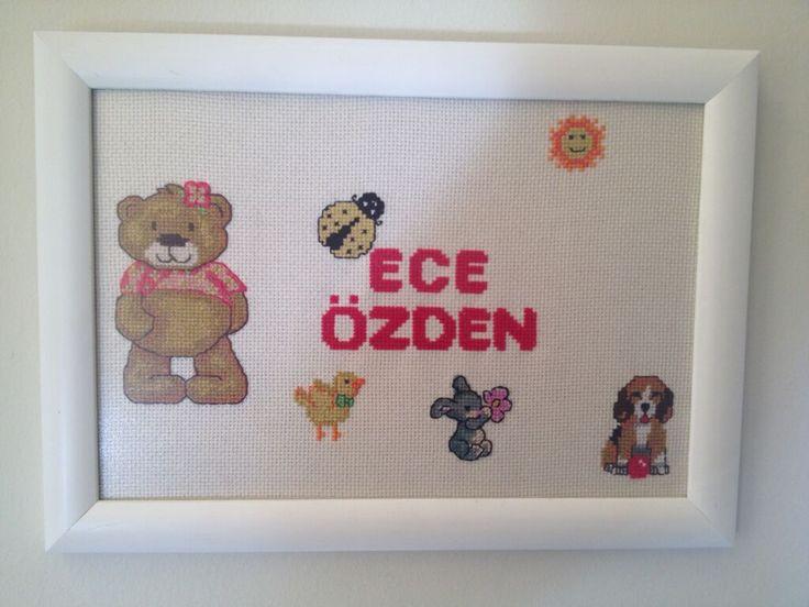 KANAVİÇE ( cross stitch ) çocuk için tablo