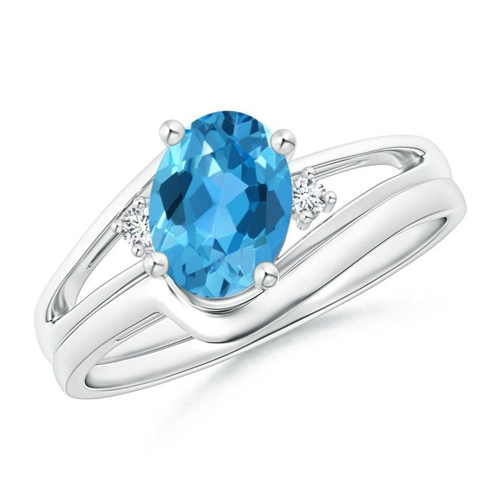 Angara 6 Prong Tapered Shank Oval Solitaire Swiss Blue Topaz Ring W4dRP8