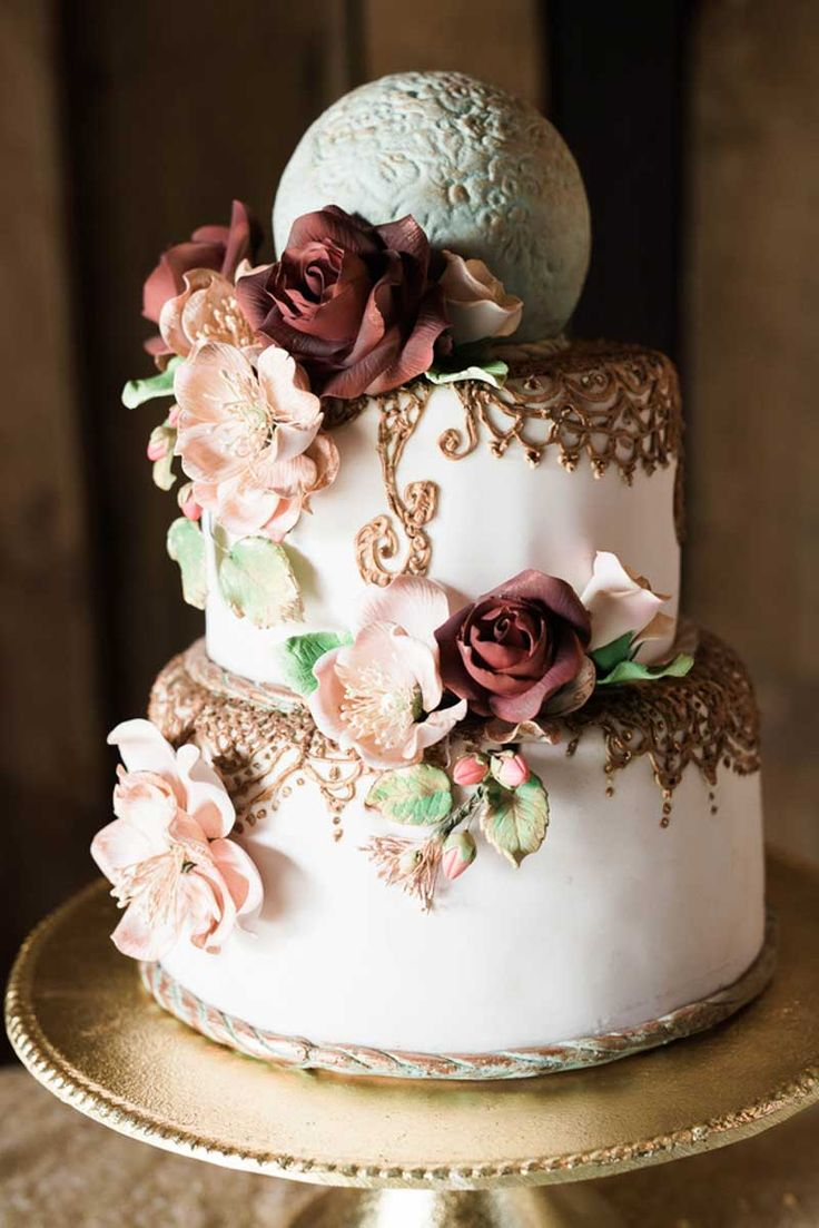 Vintage Wedding Cake by Creative Cakes and Candies - Vintage Chic Inspiration Shoot at Historic Grant Station - Central Florida Wedding Venue - Photo: JenAnn Photography - Orange Blossom Bride - Click Pin for More - www.orangeblossombride.com