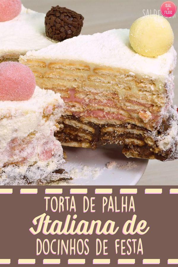 Receita de torta de palha italiana de três sabores diferentes, fica maravilhosa! Ótimo para fazer para as crianças, elas vão amar!