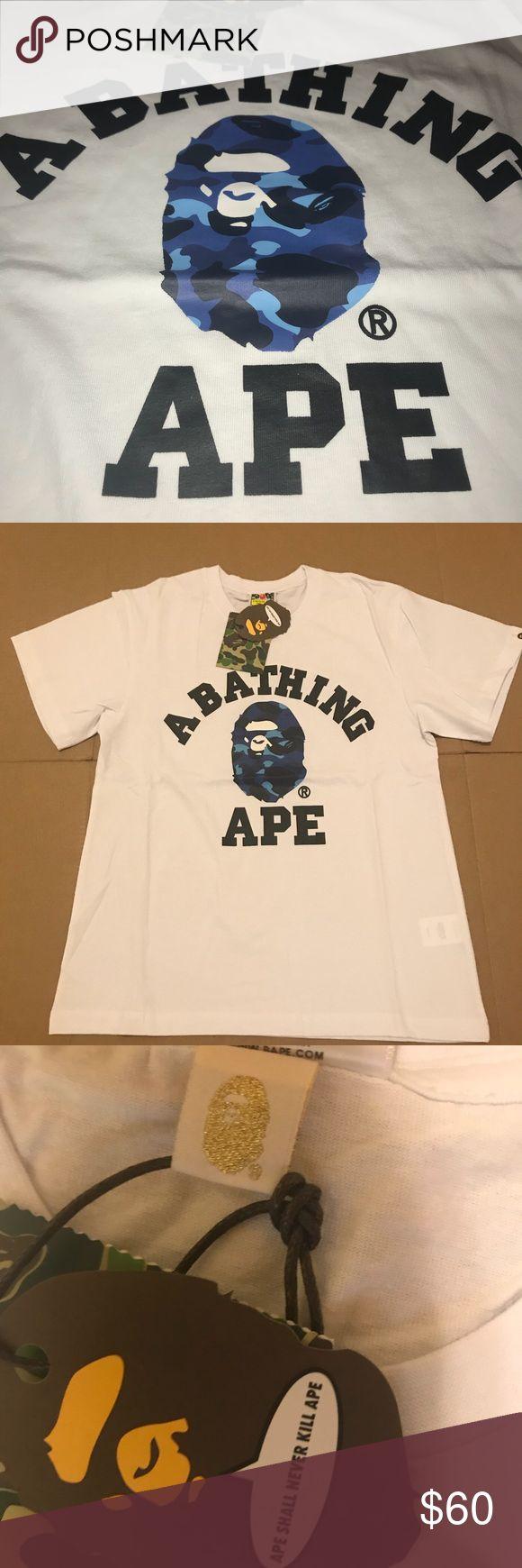 A Bathing Ape t Shirt White blue ape Sz xL Bape Shirt bape Shirts Tees - Short Sleeve