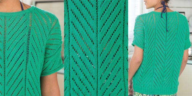 Зеленый пуловер с короткими рукавами Vogue Knitting Spring Summer 2017