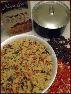 This Couscous Recipe is good for backpackers because it's very filling and easy to cook.  Chef Glenn adds dehydrated ground beef and dried tomatoes.