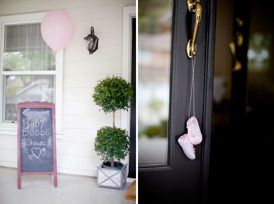 Baby shoes on the door knob - welcome to the baby shower!