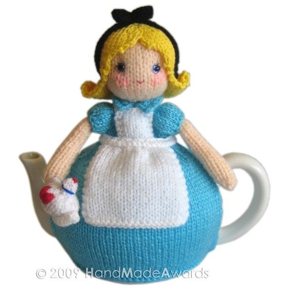 ALICE in WONDERLAND Tea Cosy pdf Email Knit por HandMadeAwards                                                                                                                                                                                 Más