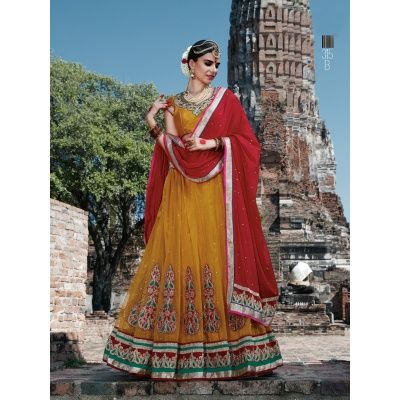 Multi Net With Embroidery Work Bridal Lehengas