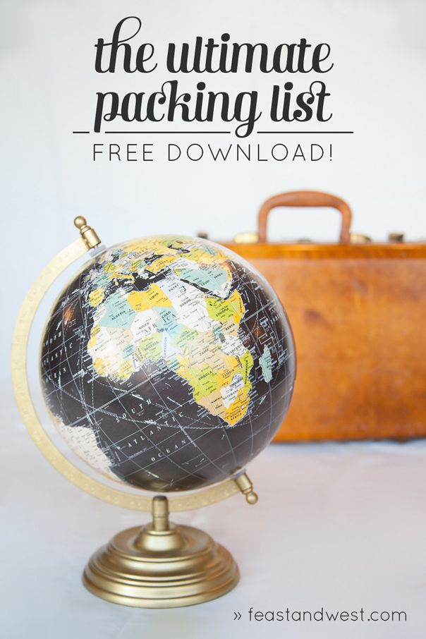 The Ultimate Packing List free printable from Feast + West. Don't forget anything on your next trip. Print off this free download and enjoy your trip. #packing #travel #traveling