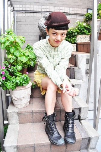 hat + mint lace + combat boot  Rila Fukushima