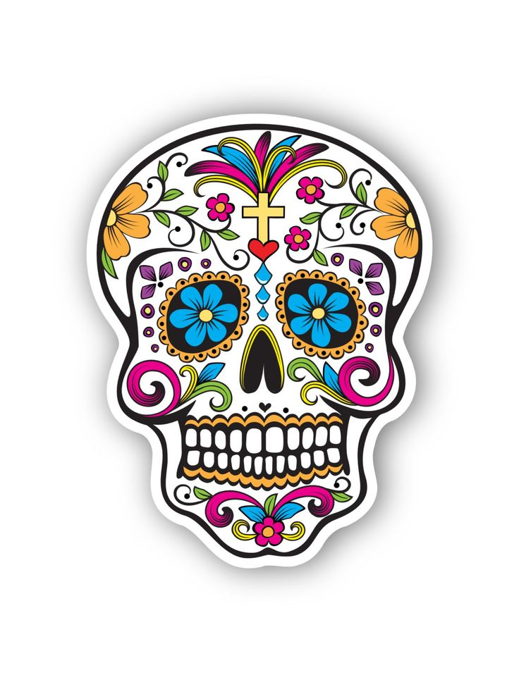 Mexican Sugar Skull Sticker By Tmaniashop On Etsy Diy