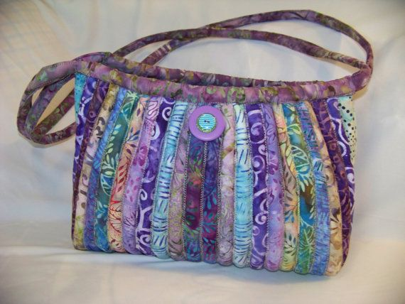 Batik Hobo purse bag purple teal quilted strips with by Stitchn4U,
