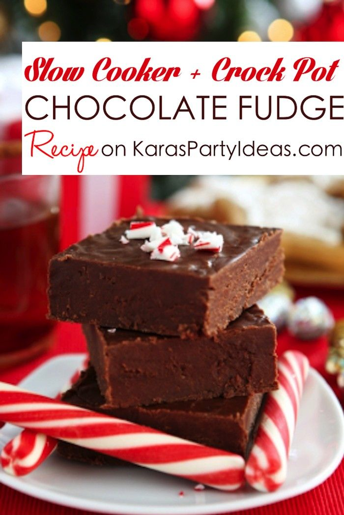 Slow Cooker   Crock Pot Chocolate FUDGE RECIPE! Via Kara's Party Ideas KarasPartyIdeas.com