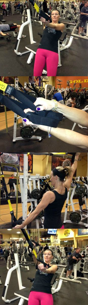 """Swim Strength and Length: This exercise uses TRX straps to work the shoulders, back and core while emphasizing the """"swimmer's reach"""" that lengthens the body as it glides through the water."""