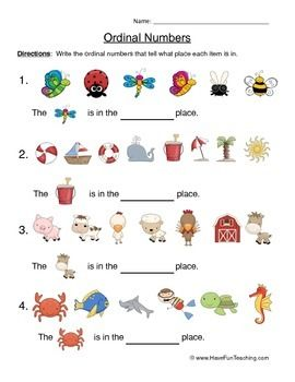 Free Ordinal Numbers Worksheet. Write the ordinal numbers that tell what place each item is in.Brought to you by Have Fun Teaching!